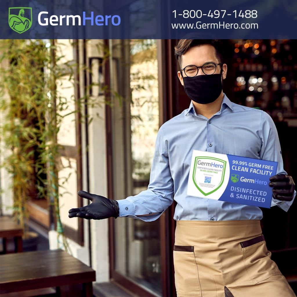 Man holding Germ Hero Verified Sign