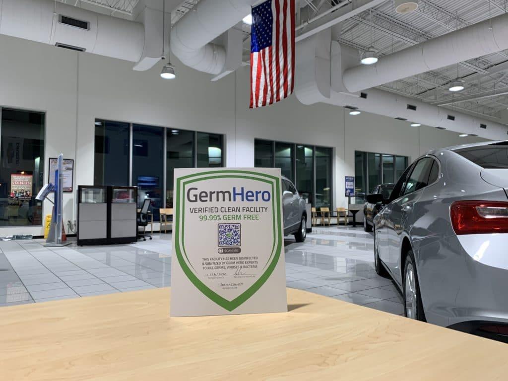 Germ Hero Verified Shield at Hessert Chevrolet Showroom