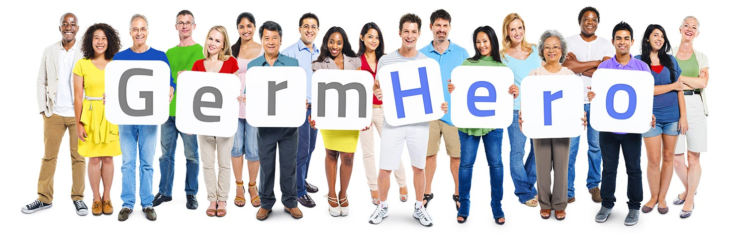 People Holding Germ Hero Sign