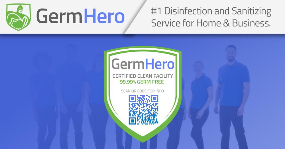 Germ Hero Disinfection Team Standing Behind Germ Hero Certified Shield Plaque