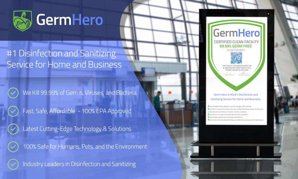 Germ Hero Promotional Image with Disinfection and Sanitizing Benefits
