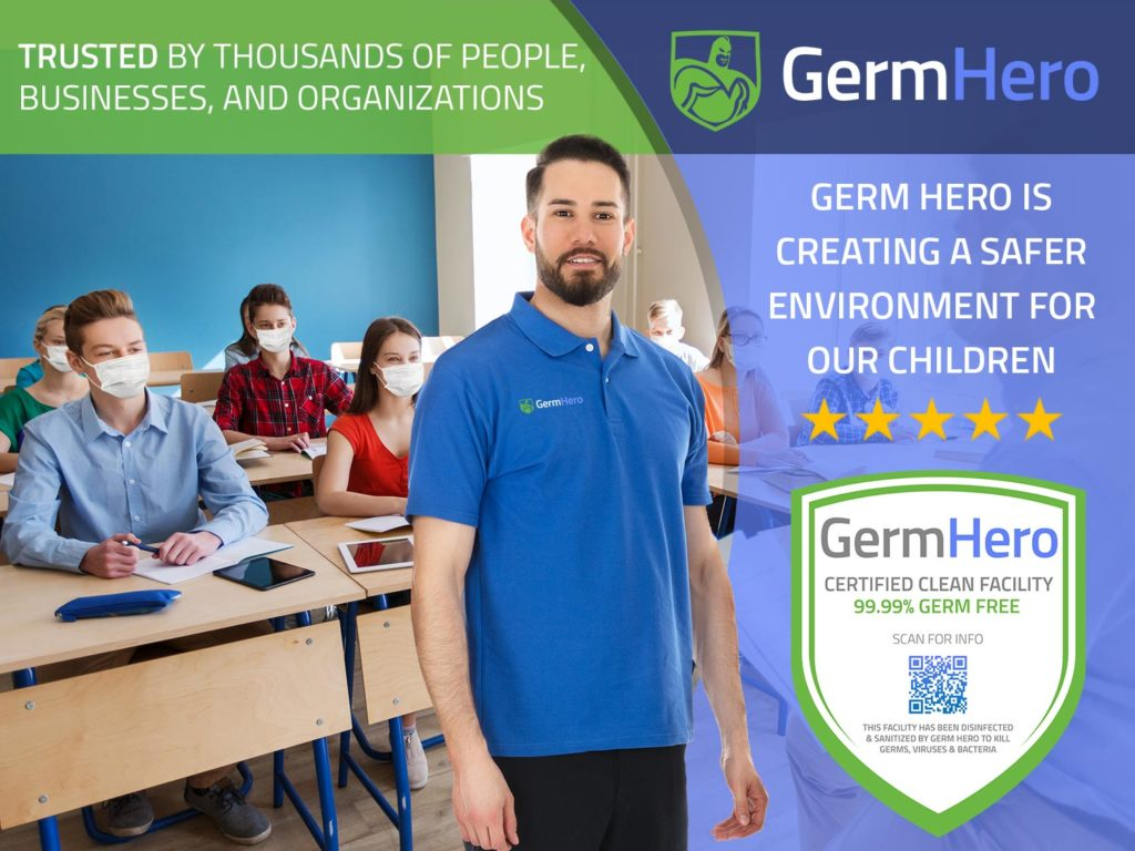 Germ Hero Technician Standing in Front of Classroom