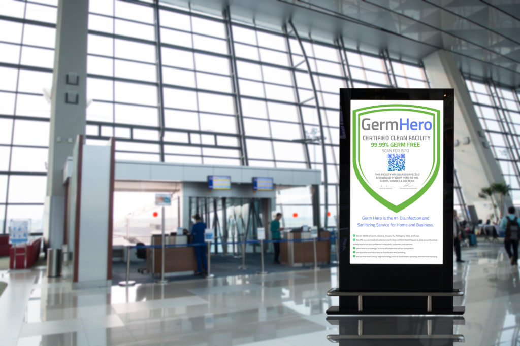 Germ Hero Certified Shield displayed in airport