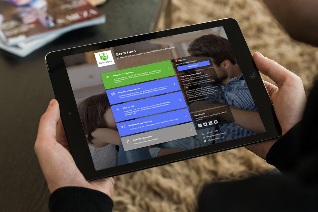 Germ Hero Customer Dashboard on iPad