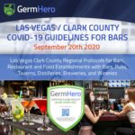 Las Vegas Covid-19 Guidelines September 20th 2020 – Clark County Regional Protocols for Bars, Restaurant and Food Establishments with Bars, Pubs, Taverns, Distilleries, Breweries, and Wineries